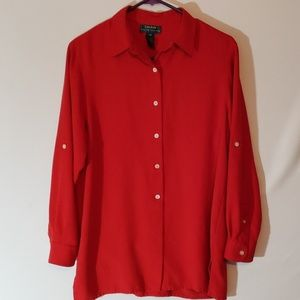 Ralph Lauren Women's Red Button Down Shirt. Medium